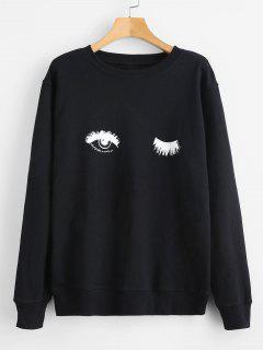Eyelash Funny Graphic Sweatshirt - Black L