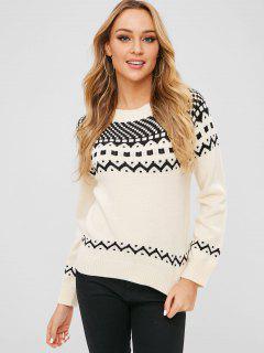 ZAFUL Geometric Graphic Textured Sweater - White