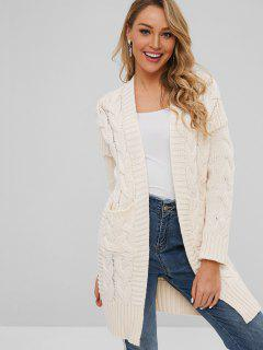 Cable Knit Pocket Longline Cardigan - Apricot