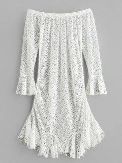 Vestido De Sirena De Ganchillo Flor Fuera Del Hombro - Blanco