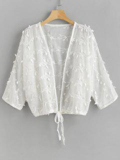 Flower Drawstring Hem Beach Cover Up - White