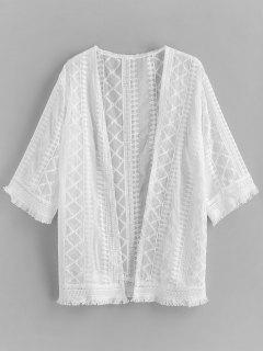 Encubrimiento De Playa De Dobladillo Deshilachado Crochet - Blanco