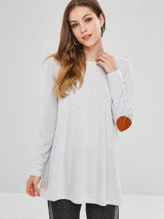Elbow Patch Tunic Top - Gray S