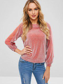 Mesh Panel Sequined Top - Blush Red L