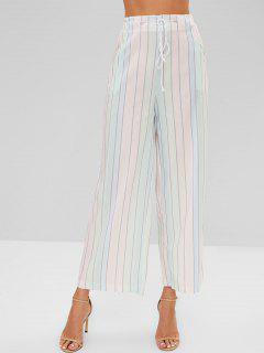 Pantalones Rayados Contraste De Pierna Ancha - Multicolor M