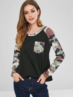 Raglan Sleeves Camouflage Pocket Tee - Black M