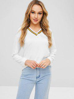 V Neck Striped Long Sleeves Tee - White M