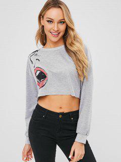 Facial Graphic Crop Sweatshirt - Gray S