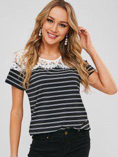 Round Neck Lace Panel Striped Tee - Black L