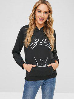 Cat Ear Car Graphic Hoodie - Black M