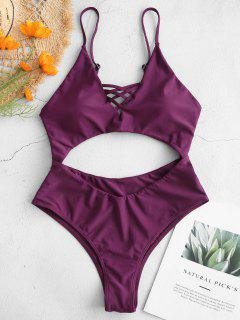 ZAFUL Criss Cross Backless Cutout Swimsuit - Dark Orchid M