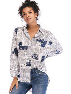 Camisa Con Estampado De Periódico, Camisa Alta Y Baja - Blanco L