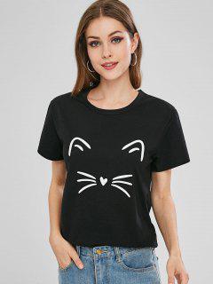 T-shirt Chat Graphique à Manches Courtes - Noir S