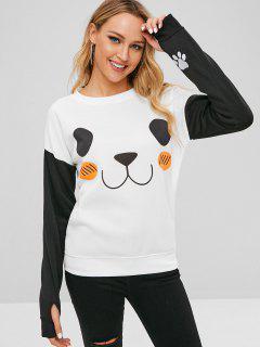 Color Block Cute Panda Sweatshirt - Multi M