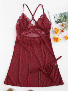 Criss Cross Bowknot Lace Insert Lingerie Dress - Red Wine L