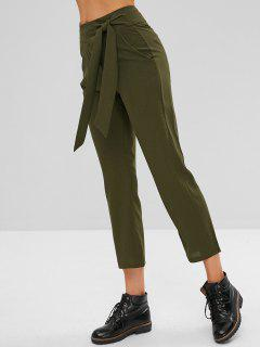 Zip Fly High Rise Tied Pants - Army Green Xl