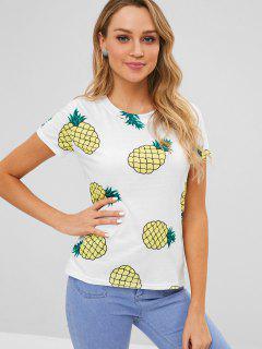 T-shirt Ananas Imprimé à Manches Courtes - Blanc M