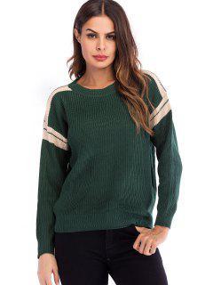 Gestreifter Pullover Mit Rundhalsausschnitt - Grün