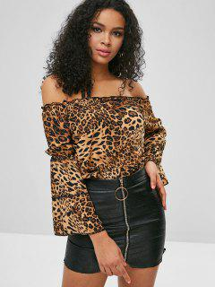 Flare Sleeve Off Shoulder Leopard Blouse - Leopard L