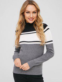ZAFUL Mock Neck Stripes Slit Sweater - Multi-a