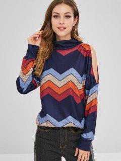 Cold Shoulder Zigzag Graphic Sweatshirt - Multi-a S