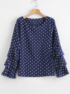 Layered Sleeves Polka Dot Blouse - Navy Blue M