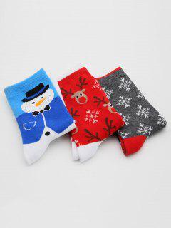 3 Pairs Santa Claus Elk Printing Winter Socks - Multi-c