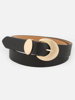 Vintage Alloy Buckle Faux Leather Waist Belt - Black