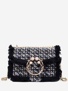 Artificial Pearl Plaid Pattern Crossbody Bag - Black