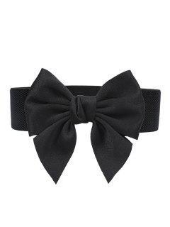 Bowknot Embellished Elastic Dress Belt - Black