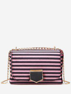 Striped Printed Link Chain Crossbody Bag - Rose Red