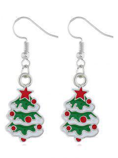 Embellished Christmas Tree Printed Hook Earrings - Silver