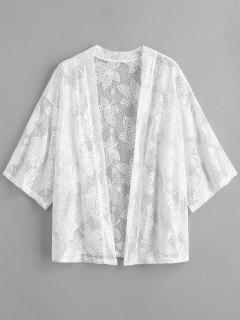 Leaf Lace Hollow Out Beach Cover Up - White