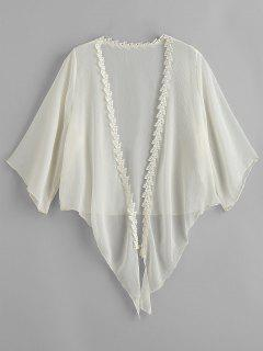 Crochet Tied Hem Crop Sheer Cover Up - Beige
