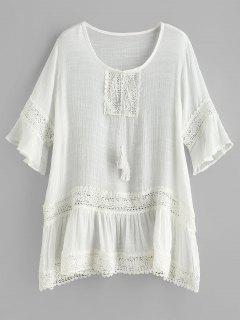 Crochet Tassel Flare Sleeve Beach Dress - White