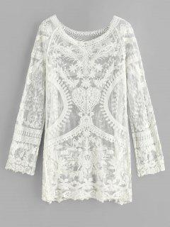 Mini Vestido De Playa De Manga Raglán De Crochet - Blanco