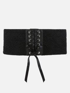 Stylish Drawstring Stretchy Lace Wide Belt - Black