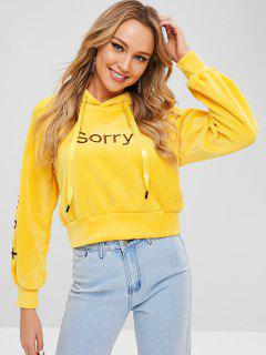 Raglan Sleeve Sorry Embroidered Velvet Hoodie - Bright Yellow M