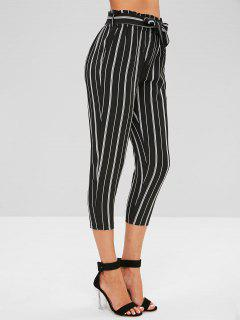 Striped Elastic High Waist Belted Pants - Black L