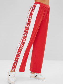 Side Snap-button Love Graphic Pants - Red S