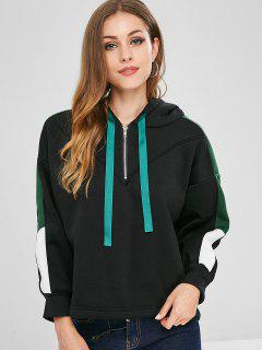 Drawstring Half Zip Color Block Hoodie - Black M