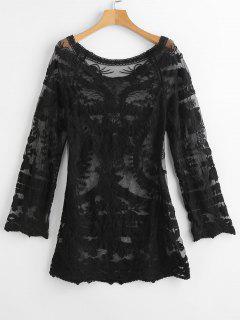 Crochet Raglan Sleeve Mini Beach Dress - Night