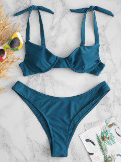 ZAFUL Ensemble De Bikini Noué à Armature - Paon Bleu S