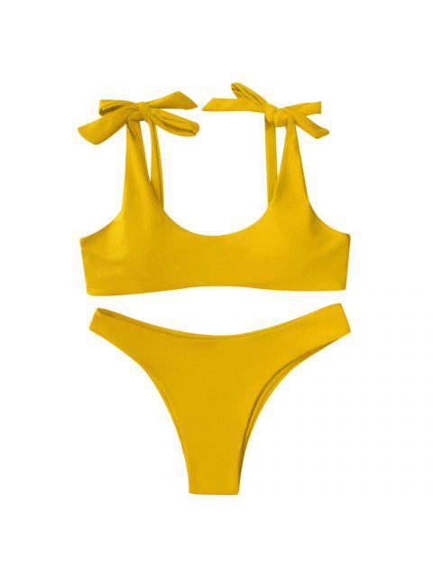 Scoop Tie Hombro acolchado traje de baño - Amarillo L Mobile