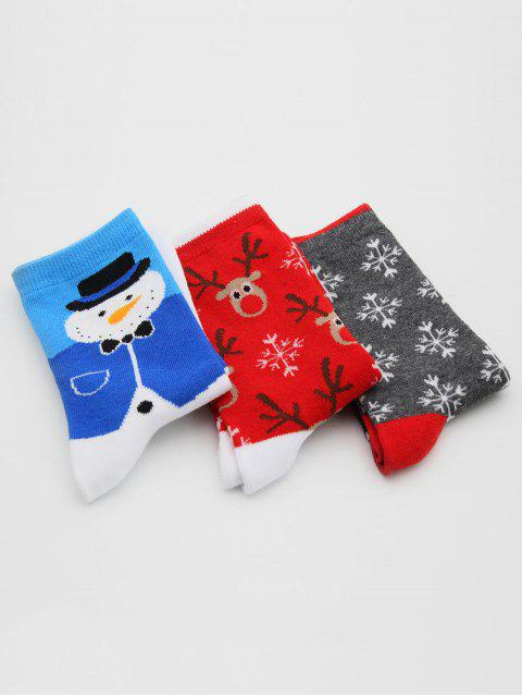 shop 3 Pairs Santa Claus Elk Printing Winter Socks - MULTI-C  Mobile