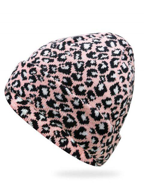 fancy Stylish Leopard Flanging Knit Cap - LIGHT PINK  Mobile