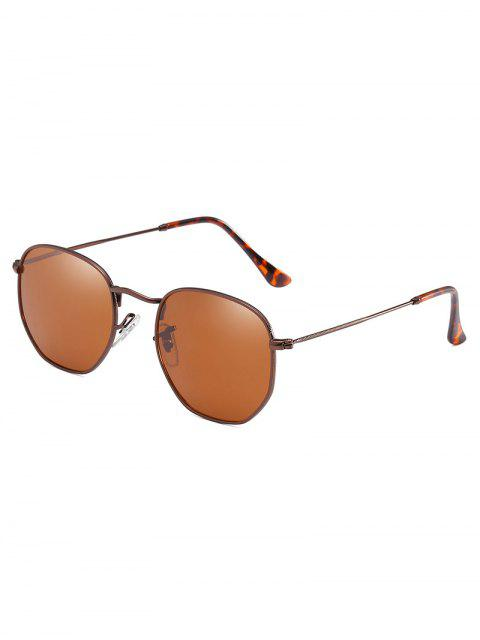 ladies Lightweight Metal Frame Beach Sunglasses - DEEP BROWN  Mobile