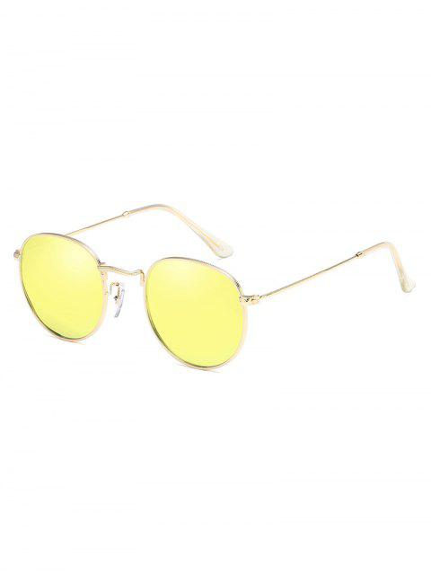 outfit Anti UV Metal Full Frame Oval Sunglasses - YELLOW  Mobile
