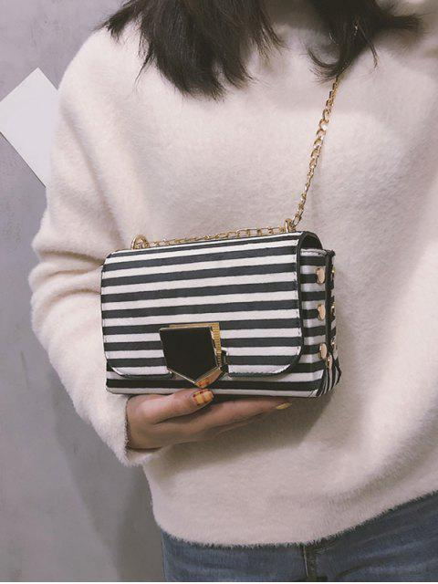 women Striped Printed Link Chain Crossbody Bag - WHITE  Mobile