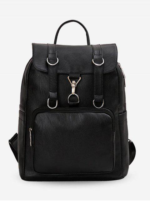 sale PU Large Capacity Design Backpack - BLACK  Mobile